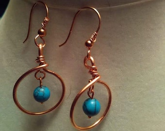 Handcrafted  all copper  earrings.