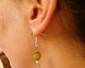 Handmade handwrapped silver wire drop dangle leaf earring with sea glass green bead