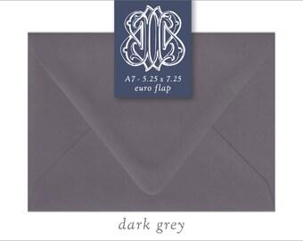 Dark Grey | 10 Blank A7 Euro Envelopes