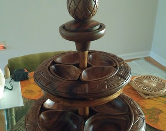 Awesome retro monkeypod wood tiered lazy susan