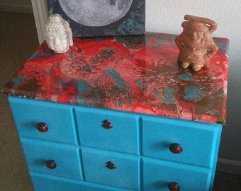 Refurbished Resin Dresser - Acrylic Resin - Recycled Dresser - Resin - Home Decor - Dresser - Homemade - Custom