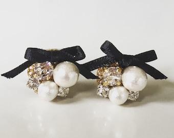 Ribbon & Swarovski Earrings, Ribbon Earrings, Bridesmaids Gifts, Bridal Jewelry