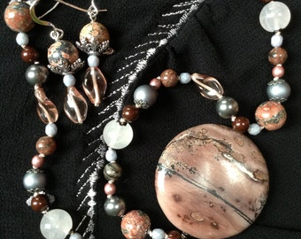 "17"" Knotted Picture Jasper Pendant Necklace With Matching Earrings - Pink, Grey & White"