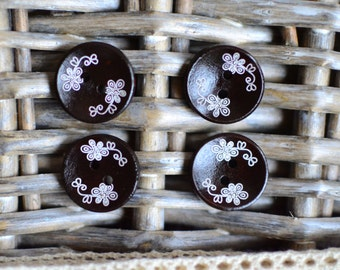2pc brown wooden buttons I Wooden buttons I Brown buttons I Buttons I Brown button I 2 hole button I Sewing supplies I Scrapbooking buttons