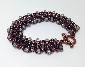 Enameled Copper Bracelet with beads, toggle clasp