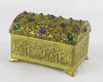 "Vintage Jeweled Box ""E. & J.B. Empire Art Gold"" 1920's"