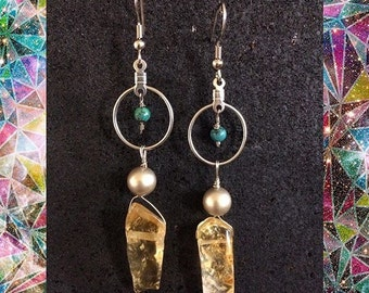 Citrine and turquoise dangles