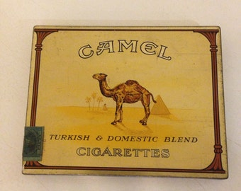 Vintage Camel cigarette box/metal tin/50 cigarettes/tax stamp