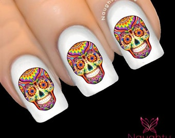 YVETTE Sugar Skull Nail Water Transfer Decal Sticker Art Tattoo Day of Dead NNC-142