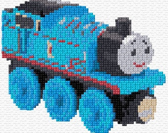 Thomas the Tank Engine Black and White Cross Stitch Chart