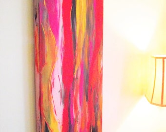 Long Narrow Abstract Wall Art Orange Yellow Red black Grey Pink Acrylic Canvas Contemporary Modern 12 x 36 Office Home Decor Room Rainbow