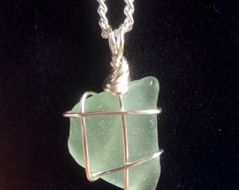 Genuine Sea Glass Pendant Necklace in Cobalt and Light Blue
