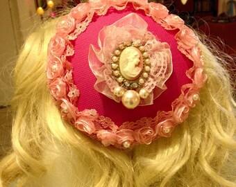 Pillbox Hat Fascinator Pink Camée Cameo Millinery Bibi  Fifties