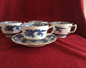 Booths Blue Dragon Breakfast Tea 4 Cups and 1 Saucer