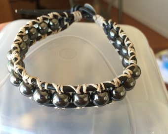 Chan luu inspired hematite bead bracelet