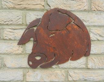 Pig Head / Pig Garden Art / Rusty Metal Art / Garden Decoration / Pig Gift / Pig Wall Hanging / Pig Metal Art / Garden Wall Hanger