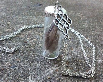 Feather Glass Vial Necklace