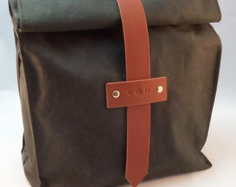 Waxed Canvas and Leather Tote Lunch Bag
