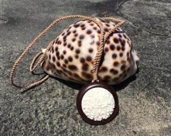 Bone Carving Koa Wood Necklace w/ rope, Maori, Hei Matau, Nautical, Beach, Island, Ocean Jewelry