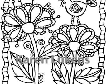 Birdie Flowers, 1 Adult Coloring Book Page, Printable Instant Download
