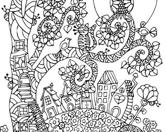 Best Friends #2, 1 Adult Coloring Book Page, Printable Instant Download