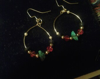 goldtone lovely hoops and turquoise and other stones
