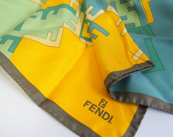 FENDI / small size / silk scarf /FF yellow & emerald green