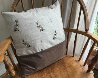 Beautiful Hare Cushion, Pillow, Brown Cushion, Animal Cushion