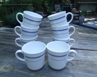 Corningware Blue Stiped Coffee Tea Cups Mugs Set of 8