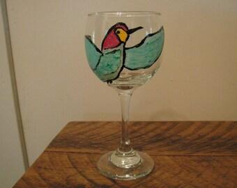 Hand painted bird wine glass