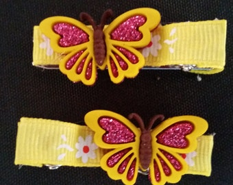 2 Yellow n Pink Butterfly Hair Clips