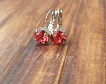 Swarovski Crystal Drop Leverback Earrings, Custom Color, Designer, Vintage 8.5mm stones
