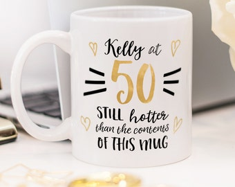 Birthday mug, beautiful present for 50th birthday