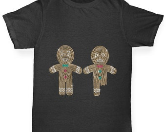 Boy's Eat Me Gingerbread Men Rhinestone Diamante T-Shirt