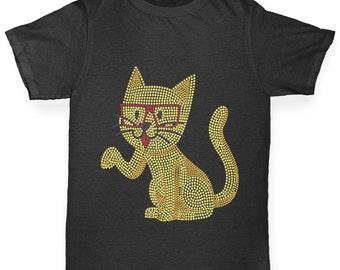 Boy's Nerdy Hipster Cat Rhinestone T-Shirt