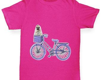 Girl's Pug On A Bike T-Shirt