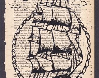 Sailing Ship lino print on book page