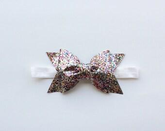 Multi-colored Glitter Bow Headband