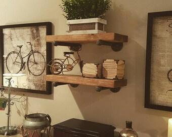 "One 6"" Deep Industrial Floating Shelf, Farmhouse Shelve, Rustic Wood and Pipe Shelf, Wall Shelf, Open Shelving, Bathroom Storage"