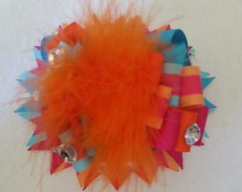 Orange Pink and Blue Over the Top Burst Bow