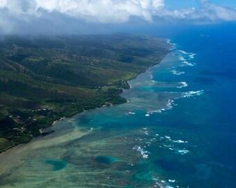 Molokai Hawaii from above near Maui