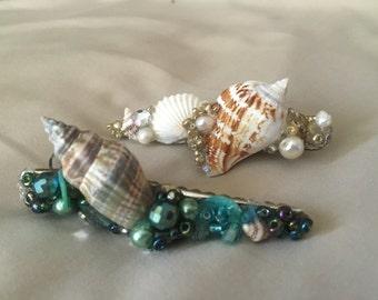 Sea shell hair clip, beach wedding, mermaid hair clip,