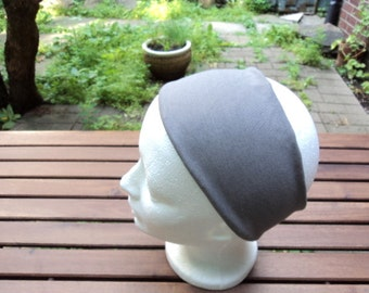 Wide grey band made of stretch fabric. Hair accessory. Yoga headband.