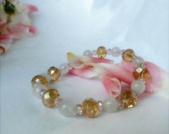 Rose Quarts bracelet made with genuine Austrian Crystals