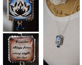 Charm/Yoga /Two Sides Unique/Dalai Lama/Inspirational/lotus flower/lotus/Quote/Inspiring/Soldered/Necklace/Ball Chain/Gift/Perfect Gift