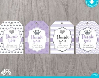 Lilac and Silver Glitter Print Yourself Thank You Tags, Printable Favor Tags, Baby Shower or Birthday Thank You Tags