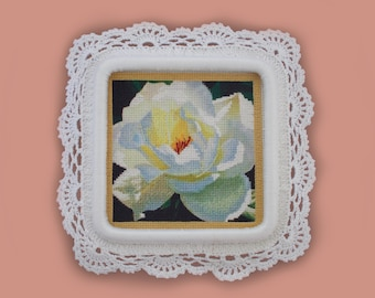 White Queen of the Garden/ Embroidery/ Exclusive Frame/ Rose/Wedding/ Present