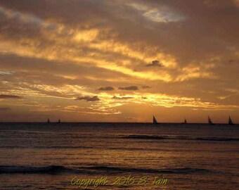 Post Sunset at Waikiki Beach (Oahu, Hawaii)