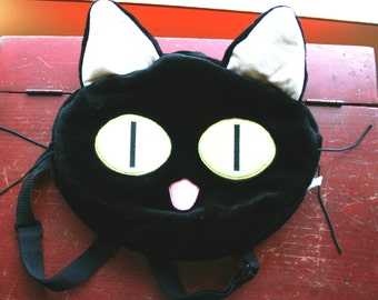Black Cat Back Pack Plush Adjustable