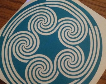 5 fold spiral, Pagan, Wiccan, Pentaskelion, Wiccan Decal, Wicca, Pagan Decal, Element Spiral Decal, Vinyl Decal, Air, Water, Earth, Spirit